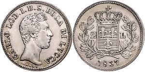 2 Lira 意大利王國 (1861-1946) 銀 卡洛二世 (帕尔马)