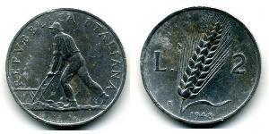 2 Lira Italie Aluminium
