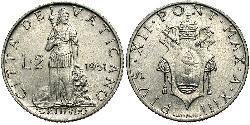 2 Lira Vatican (1926-) Aluminium Pope Pius XII  (1876 - 1958)