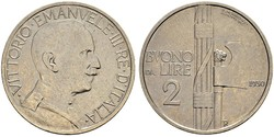 2 Lira Kingdom of Italy (1861-1946) Nickel Victor Emmanuel III of Italy (1869 - 1947)