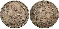 2 Lira Estados Pontificios (752-1870) Plata Pío IX (1792- 1878)