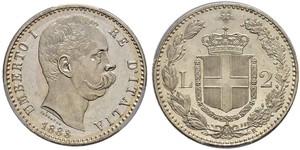 2 Lira Italia Plata Umberto I (1844-1900)
