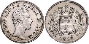 2 Lira Kingdom of Italy (1861-1946) Plata Carlos II de Parma