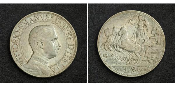 2 Lira Kingdom of Italy (1861-1946) Plata Vittorio Emanuele III (1869 - 1947)