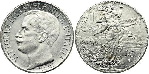 2 Lira Kingdom of Italy (1861-1946) Platino/Plata Víctor Manuel III de Italia (1869 - 1947)