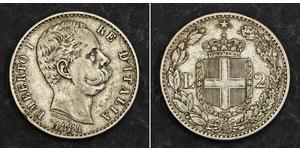 2 Lira Italien Silber Umberto I (1844-1900)