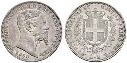 2 Lira Kingdom of Italy (1861-1946) Silver Victor Emmanuel II of Italy (1820 - 1878)
