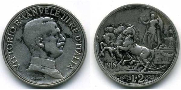 2 Lira Kingdom of Italy (1861-1946) Silver Vittorio Emanuele III (1869 - 1947)