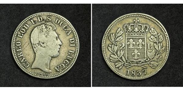 2 Lira Kingdom of Italy (1861-1946) Silver Charles II, Duke of Parma