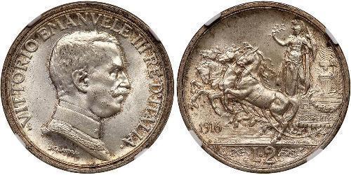 2 Lira Kingdom of Italy (1861-1946)  Víctor Manuel III de Italia (1869 - 1947)
