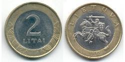 2 Litas Lithuania (1991 - ) Bimetal
