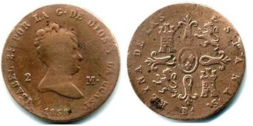2 Maravedi Kingdom of Spain (1814 - 1873) Kupfer