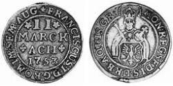 2 Marck Free Imperial City of Aachen (1306 - 1801) Silver Francis I, Holy Roman Emperor (1708-1765)