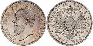 2 Mark 利珀親王國 (1123 - 1918) 銀 格奧爾格 (紹姆堡-利珀)