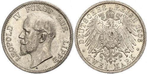2 Mark 利珀親王國 (1123 - 1918) 銀 Leopold IV, Prince of Lippe