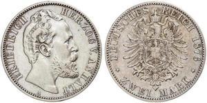 2 Mark 安哈尔特-德绍 / 安哈尔特公国 (1806 - 1918) 銀 弗里德里希一世 (安哈尔特) (1831 - 1904)