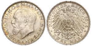 2 Mark 巴伐利亞王國 (1806 - 1918) 銀 路德维希三世 (巴伐利亚) (1845 – 1921)