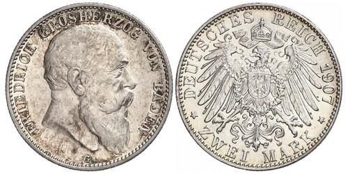 2 Mark 巴登大公國 (1806 - 1918) 銀 弗里德里希一世 (巴登)