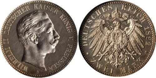 2 Mark 普魯士王國 (1701 - 1918) 銀 威廉二世 (德国)