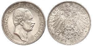 2 Mark 萨克森王国 (1806 - 1918) 銀 弗里德里希·奥古斯特三世 (萨克森国王)