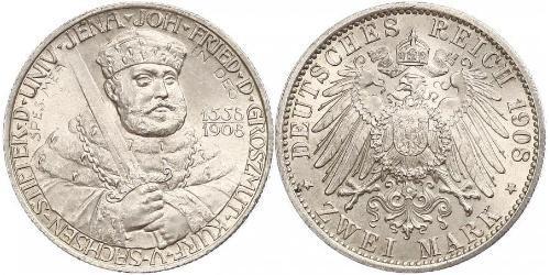 2 Mark 萨克森-魏玛-艾森纳赫 (1809 - 1918) 銀 威廉·恩斯特 (萨克森-魏玛-艾森纳赫)