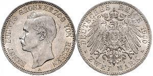 2 Mark 黑森-达姆施塔特 (1806 - 1918) 銀 恩斯特·路德维希 (黑森大公) (1868 - 1937)