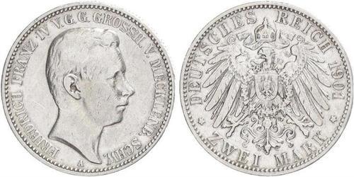 2 Mark Duchy of Mecklenburg-Schwerin (1352-1918) 銀 Frederick Francis IV, Grand Duke of Mecklenburg (1882 - 1945)