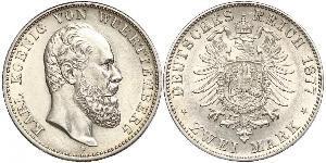 2 Mark Kingdom of Württemberg (1806-1918) 銀 卡尔一世 (符腾堡)