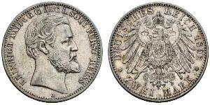 2 Mark Principality of Reuss-Greiz (1778 - 1918) 銀 Heinrich XXII (1859 - 1902)