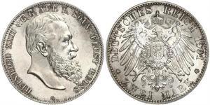 2 Mark Principality of Reuss-Greiz (1778 - 1918) 銀 Heinrich XXII (1859 - 1902)