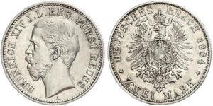 2 Mark Principality of Reuss-Greiz (1778 - 1918) 銀 Heinrich XIV, Prince Reuss Younger Line