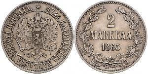 2 Mark Grand-duché de Finlande (1809 - 1917) Argent Alexandre III (1845 -1894)