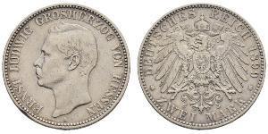 2 Mark Grand-duché de Hesse (1806 - 1918) Argent Ernest-Louis de Hesse (1868 - 1937)