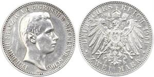 2 Mark Grand-duché de Mecklembourg-Schwerin (1352-1918) Argent Frederick Francis IV, Grand Duke of Mecklenburg (1882 - 1945)