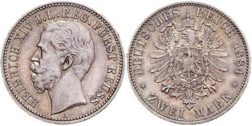 2 Mark Principauté Reuss branche aînée (1778 - 1918) Argent Heinrich XIV, Prince Reuss Younger Line