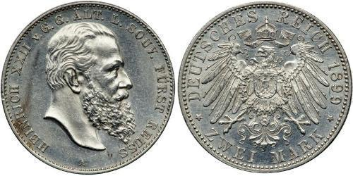 2 Mark Principauté Reuss branche aînée (1778 - 1918) Argent Heinrich XXII (1859 - 1902)
