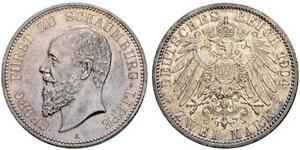 2 Mark Principauté de Lippe (1123 - 1918) Argent Georges de Schaumbourg-Lippe