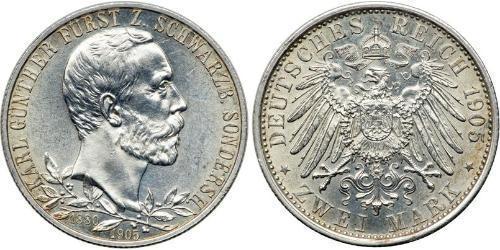 2 Mark Principauté de Schwarzbourg-Sondershausen (1599-1920) Argent