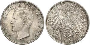 2 Mark Royaume de Bavière (1806 - 1918) Argent Othon Ier de Bavière(1848 – 1916)