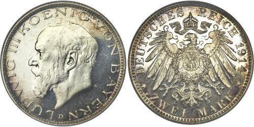 2 Mark Royaume de Bavière (1806 - 1918) Argent Louis III de Bavière (1845 – 1921)