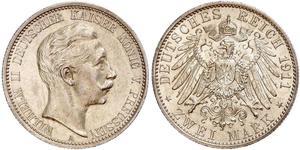 2 Mark Royaume de Prusse (1701-1918) Argent Wilhelm II, German Emperor (1859-1941)