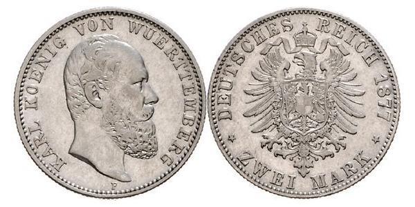 2 Mark Royaume de Wurtemberg (1806-1918) Argent Charles Ier de Wurtemberg
