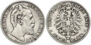 2 Mark Anhalt-Dessau (1603 -1863) / Anhalt (1806 - 1918) Argento Federico I di Anhalt (1831-1904)