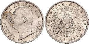 2 Mark Anhalt-Dessau (1603 -1863) / Anhalt (1806 - 1918) Argento Federico II di Anhalt(1856 – 1918)