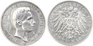 2 Mark Meclemburgo-Schwerin (1352-1918) Argento Frederick Francis IV, Grand Duke of Mecklenburg (1882 - 1945)