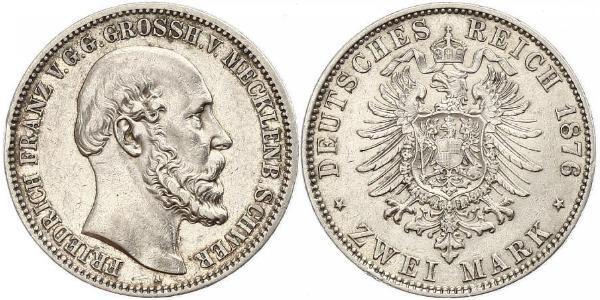 2 Mark Meclemburgo-Schwerin (1352-1918) Argento Federico Francesco II di Meclemburgo-Schwerin