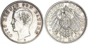 2 Mark Regno di Baviera (1806 - 1918) Argento Ottone di Baviera(1848 – 1916)