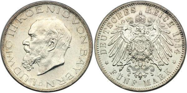 2 Mark Regno di Baviera (1806 - 1918) Argento Ludovico III di Baviera (1845 – 1921)