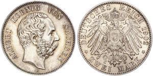 2 Mark Regno di Sassonia (1806 - 1918) Argento Alberto di Sassonia