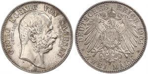 2 Mark Regno di Sassonia (1806 - 1918) Argento Giorgio di Sassonia